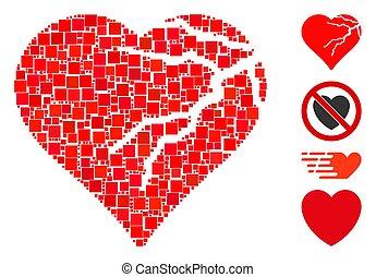 amor, vector, icono, corazón, corromper, mosaico, cuadrado
