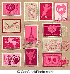 amor, vendimia, -, valentine, invitación, sellos, vector, ...
