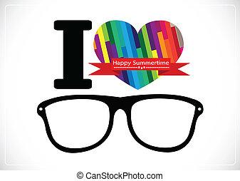 amor verão, óculos de sol, ilustração