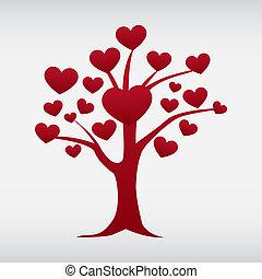 amor, vetorial, árvore, isolado