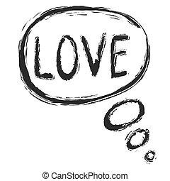 amor, vetorial, borbulho fala