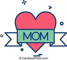 amor, vetorial, desenho, mãe, ícone