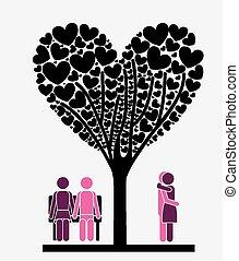 amor, vetorial, illustration., desing, árvore