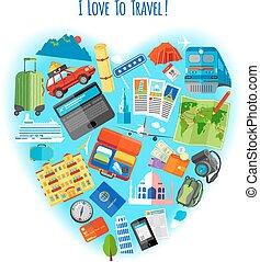 amor, viajar, conceito, ícone, cartaz