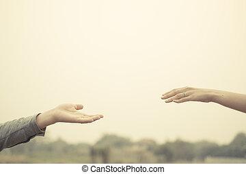 amor, vindima, par, tone., junto, mão, filtro, toque