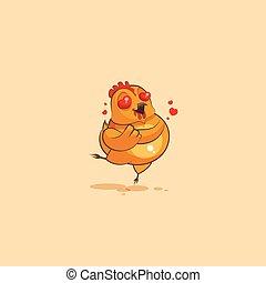amor, voando, personagem, corações, galinha, caricatura,...