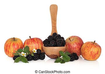 amora preta, e, maçã, fruta
