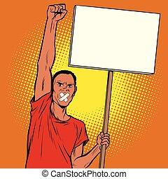 amordazado, protests, hombre africano