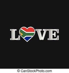 amore, africa, tipografia, bandiera, vettore, disegno, sud
