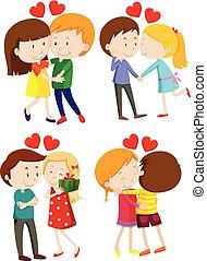 amore, agganciare abbracciare, e, baciare