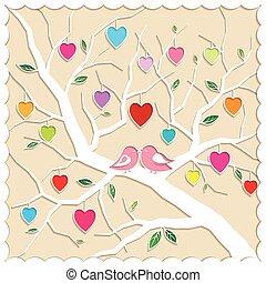 amore, albero, uccelli, primavera
