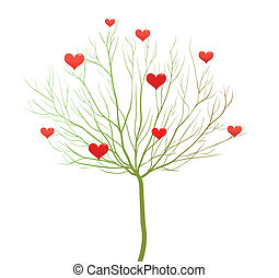 amore, albero, valentina, giorno, vettore, disegno