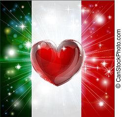 amore, bandiera, italia, fondo, cuore