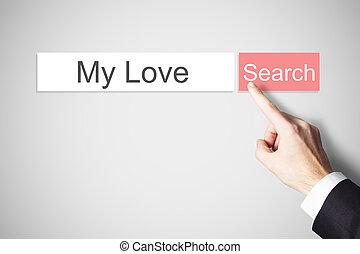 amore, bottone spingendo, dito, websearch, mio
