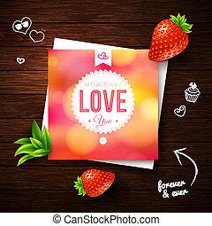 amore, card., imag, legno, romantico, vettore, disegno, fondo., lei