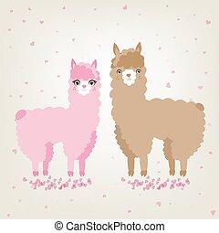 amore, carino, animali, coppia, alpaca, lama