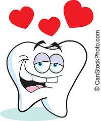 amore, cartone animato, dente