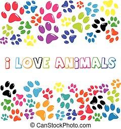 amore, colorito, testo, stampa, animali, paws