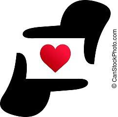 amore, come, fotografia, mano, forma, macchina fotografica