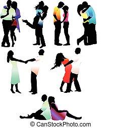 amore, coppia, felice, set, silhouette