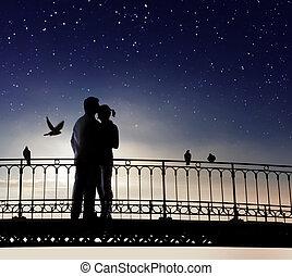 amore, coppia, ha, romantico, data
