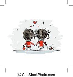 amore, coppia, illustrazione, natale, disegno, insieme, tuo