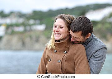 amore, coppia, inverno, felice, spiaggia, flirting