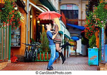 amore, coppia, pioggia, sotto, divertimento, detenere
