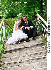 amore, coppia, sposo, tenerezza, bride., matrimonio, sentimento