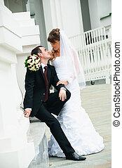 amore, coppia, sposo, tenerezza, bride., matrimonio, sentimento, felice