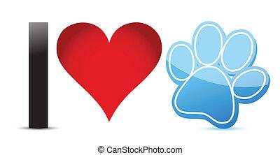 amore, disegno, animali domestici, illustrazione