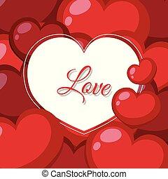 amore, disegno, fondo, cuori, parola, rosso