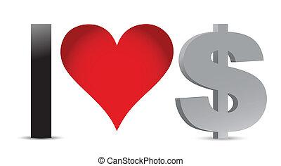 amore, dollaro, illustrazione, valuta
