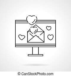 amore, email, linea fissa, vettore, icona