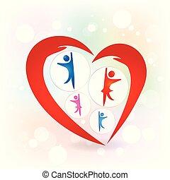 amore, famiglia, protezione, vettore, mani, logotipo