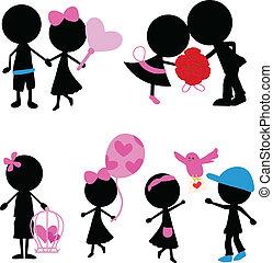 amore, figura, articoli, coppia, silhouette, bastone