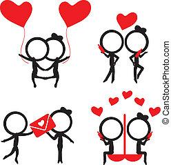 amore, figura, articoli, coppia, silhouette, bastone, rosso