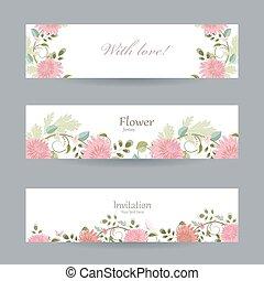 amore, floreale, invito, cartelle, tuo, design.