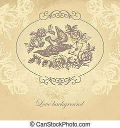 amore, flowers., illustrazione, hand-drawn, lettera, uccello