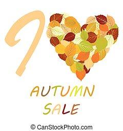amore, foglie, vendita, illustrazione, autunno, messaggio