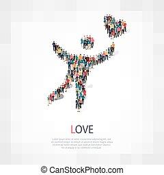 amore, folla, persone