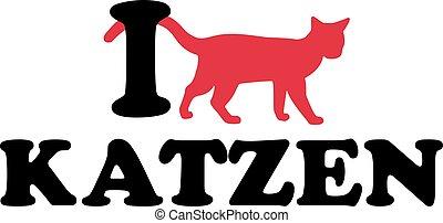 amore, gatti, silhouette, gatto