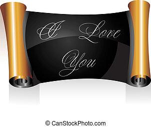 amore, giorno valentines, lei, messaggio, pergamena