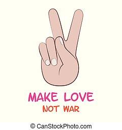 amore, guerra, fare, pace, mano, non, simbolo