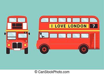 amore, icona, autobus, etichetta, londra, fronte, double-decker, lato, rosso, vista