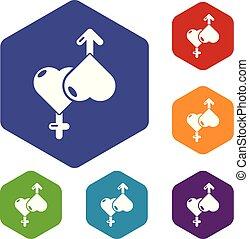 amore, icone, hexahedron, vettore, femmina, maschio