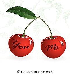 amore, illustration., ciliegia, coppia, seamless, valentina, vettore, berry., elemento, rosso, design.
