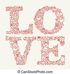 amore, illustration., icone, scarabocchiare, mano, vettore, disegnato