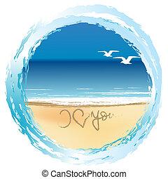 amore, illustrazione, riva, disegnato, lei, spiaggia