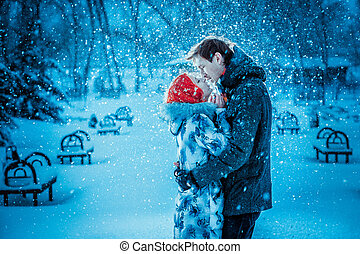 amore, inverno, coppia, parco, giovane, fun.family, bacio, outdoors., detenere, felice